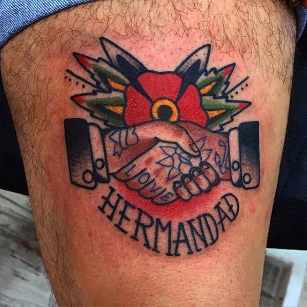 Thigh Guys Handshake Tattoo Design Ideas