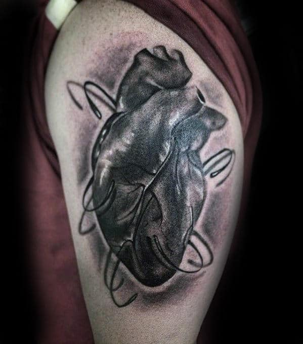 Thigh Guys Unique Fish Hook Anatomical Heart Tattoo With Realistic Design