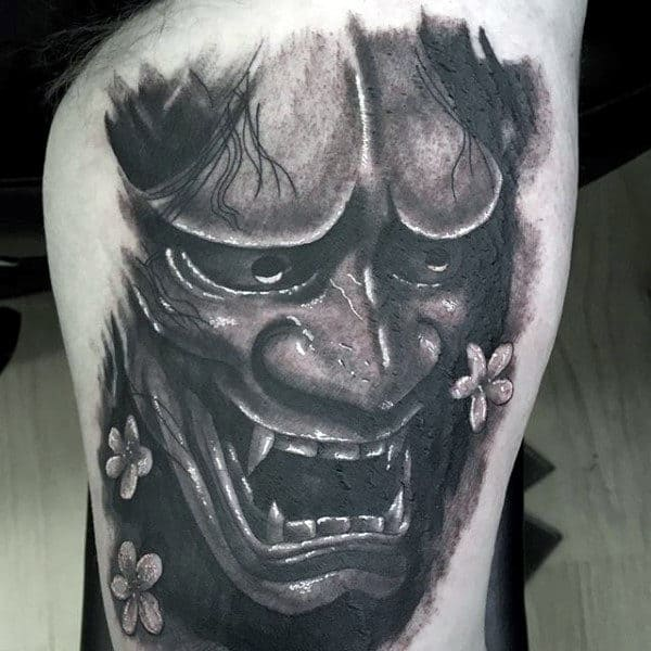 Thigh Hannya Mask Tattoos For Men