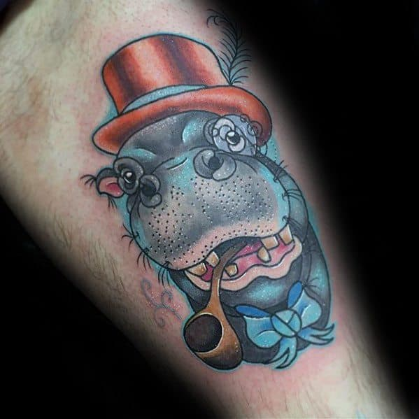 Thigh Hippo With Pipe And Top Hat Tattoo Design Ideas For Males