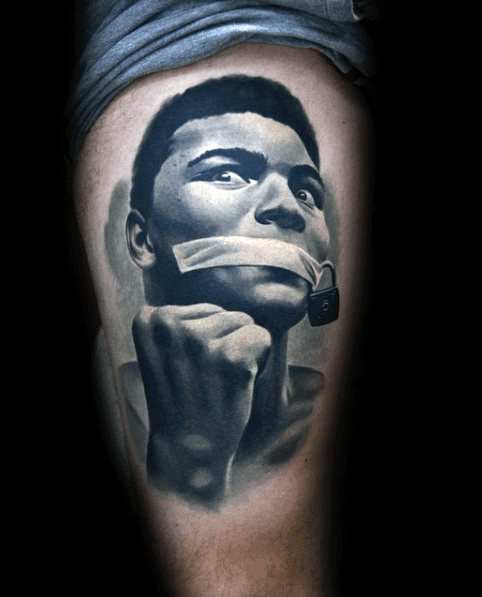 Thigh Hyper Realistic Mens Cool 3d Muhammad Ali Tattoo Ideas