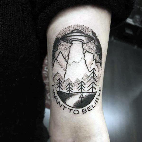 Thigh I Want To Believe Mens Tattoo Ideas