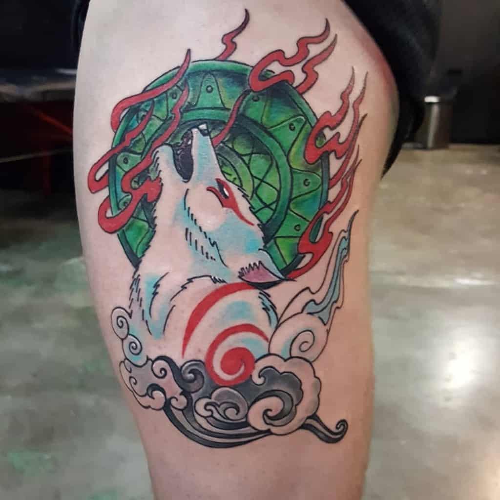thigh japanese wolf tattoo jballew31