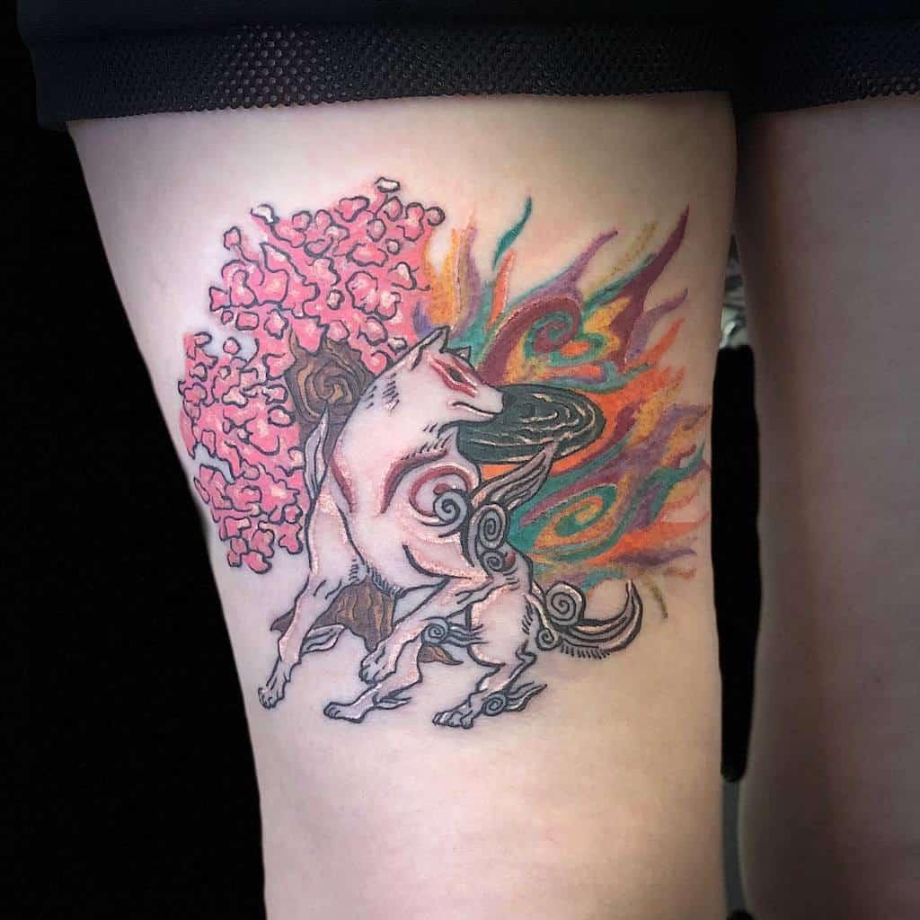 thigh japanese wolf tattoo sonyaredstattoos