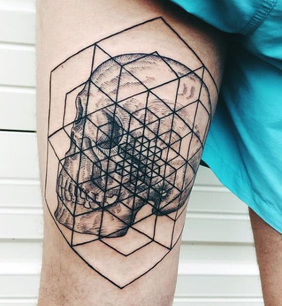 Thigh Leg Spirit Sacred Geometry Tattoos For Males
