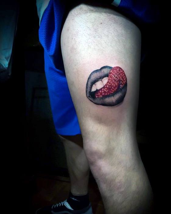 Thigh Lips With Strawberry Tounge Surrealism Tattoos Male