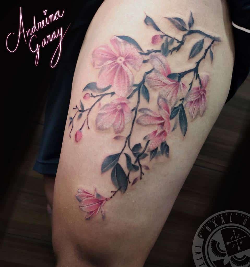 thigh magnolia tattoos oxaltattoostudio
