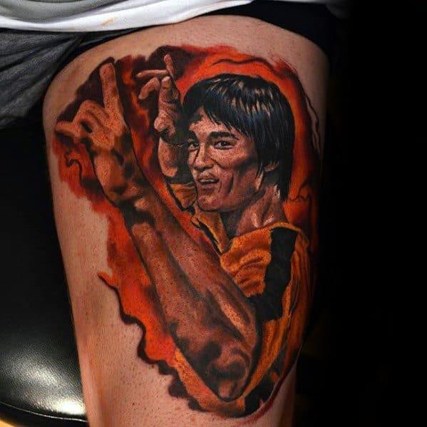 Thigh Male Bruce Lee Tattoo Design Inspiration