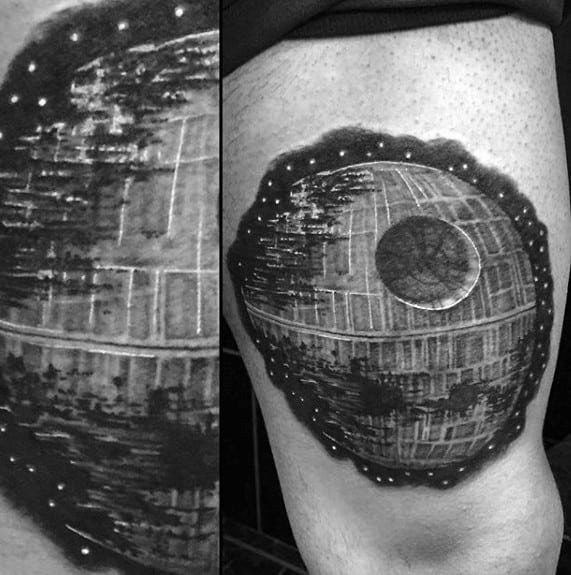 Thigh Male Death Star Tattoo Design Inspiration