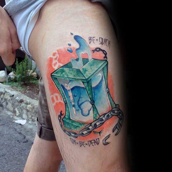 Thigh Male Magician Tattoo Design Inspiration