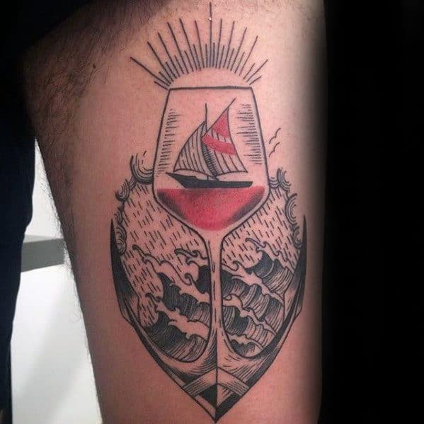 Thigh Male Sailing Ship Anchor Wine Tattoo Ideas
