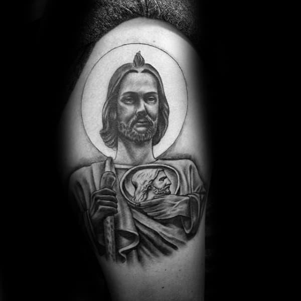Thigh Male St Jude Tattoo Design Ideas