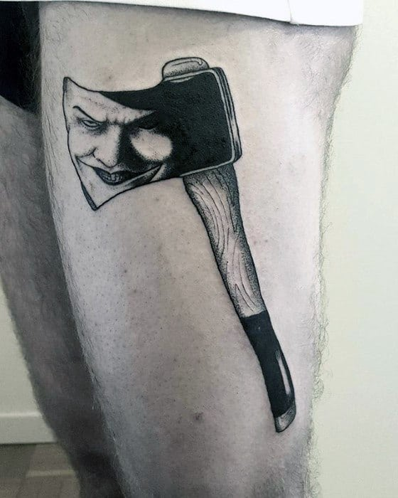Thigh Male Tattoo With Axe Design