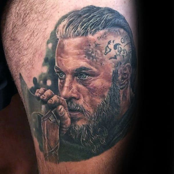 Thigh Male Tattoo With Ragnar Portrait Design