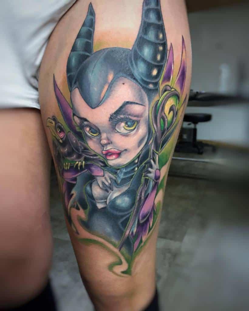 Thigh Maleficent Tattoos Pollyplankton