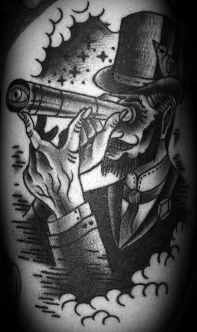 Thigh Man With Top Hat Looking Through Telescope Tattoo Ideas For Males