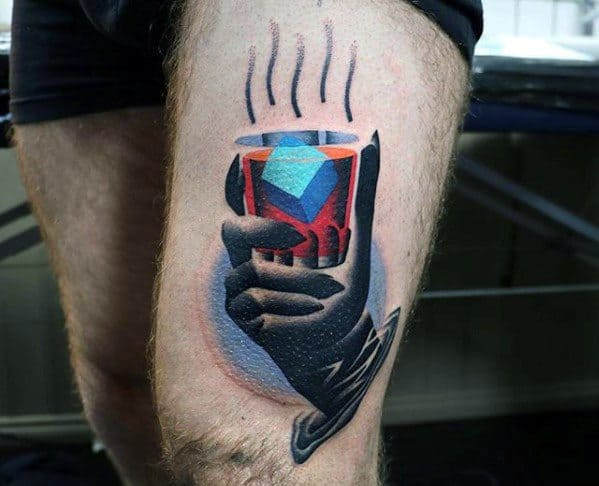 Thigh Manly Whiskey Glass Surrealism Tattoo Design Ideas For Men