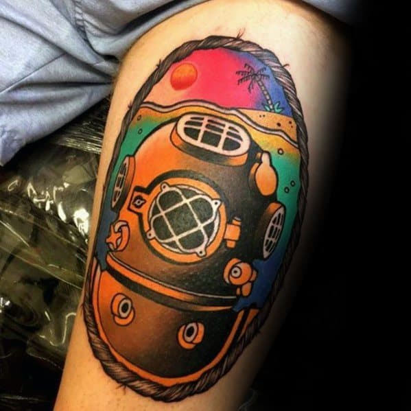Thigh Mens Beach Ocean Diving Helmet Tattoo