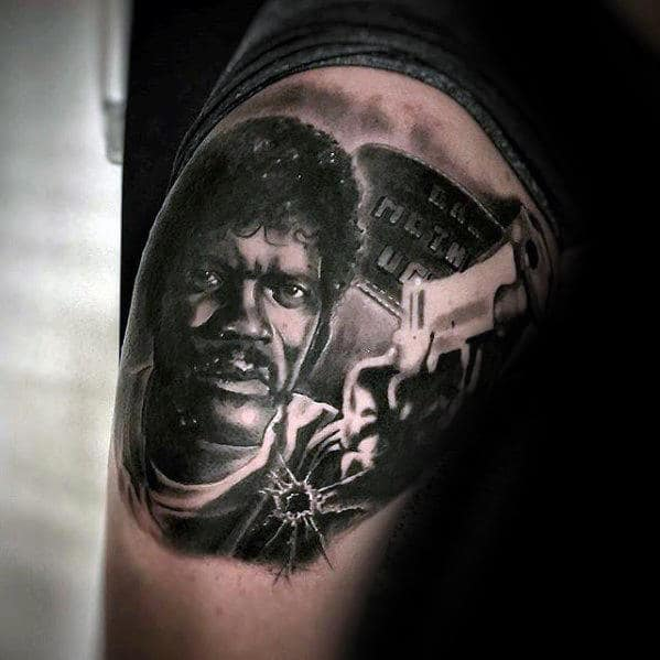 Thigh Mens Pulp Fiction Jules Winnfield Tattoo Designs
