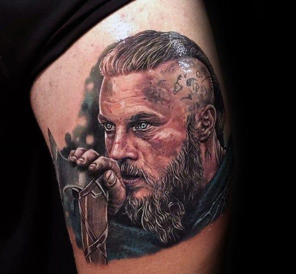 Thigh Mens Ragnar Tattoo Ideas