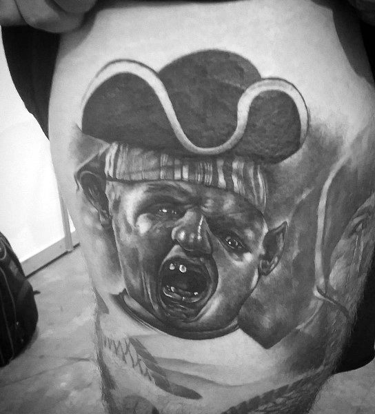 Thigh Mens Shaded Goonies Tattoo Ideas