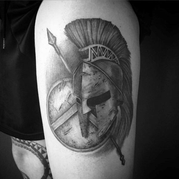 Thigh Mens Spartan Helmet Shield Tattoo