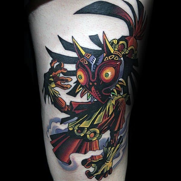 Thigh Mens Tattoo Majoras Mask Design