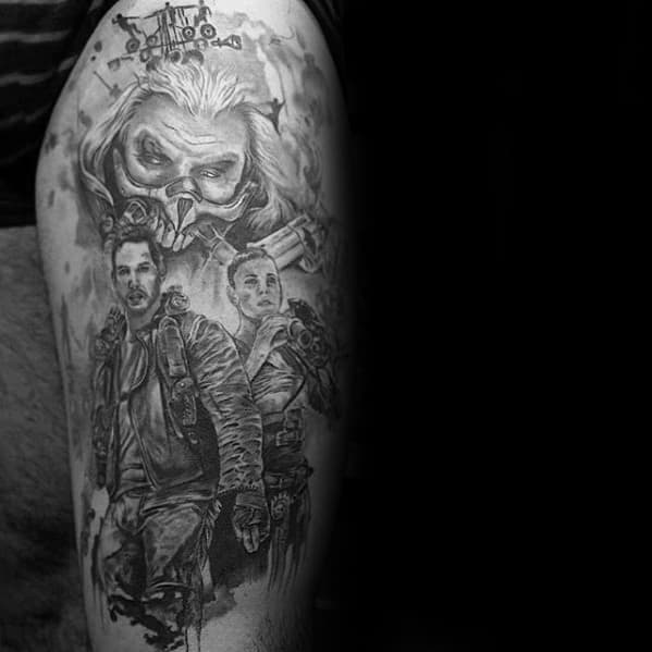 Thigh Mens Tattoo With Mad Max Design