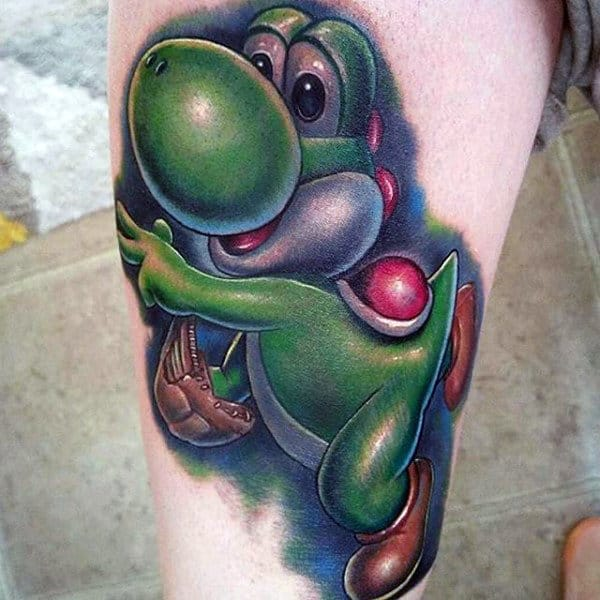 Thigh Mens Yoshi Video Game Tattoo Designs