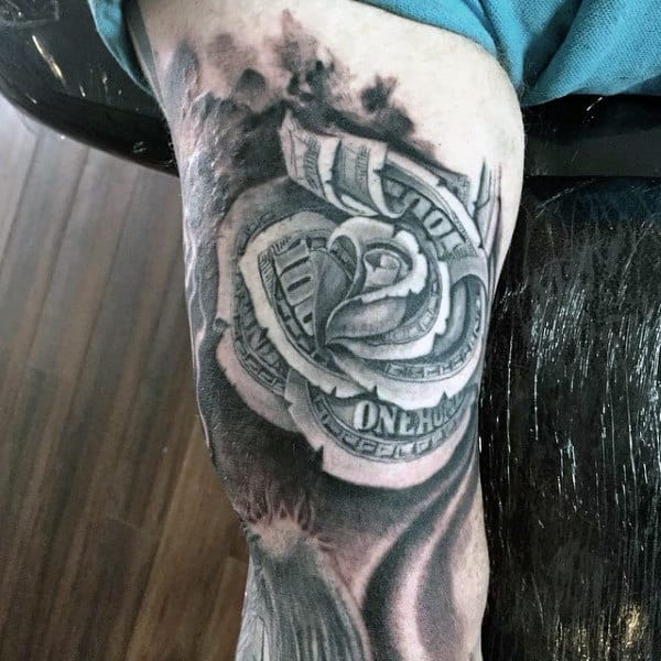 Thigh Money Rose Tattoos For Guys
