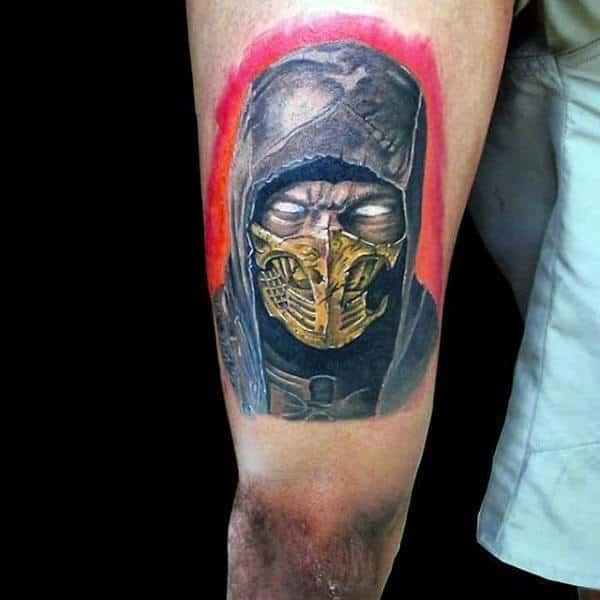 Thigh Mortal Kombat Mens Scorpion Design Tattoo