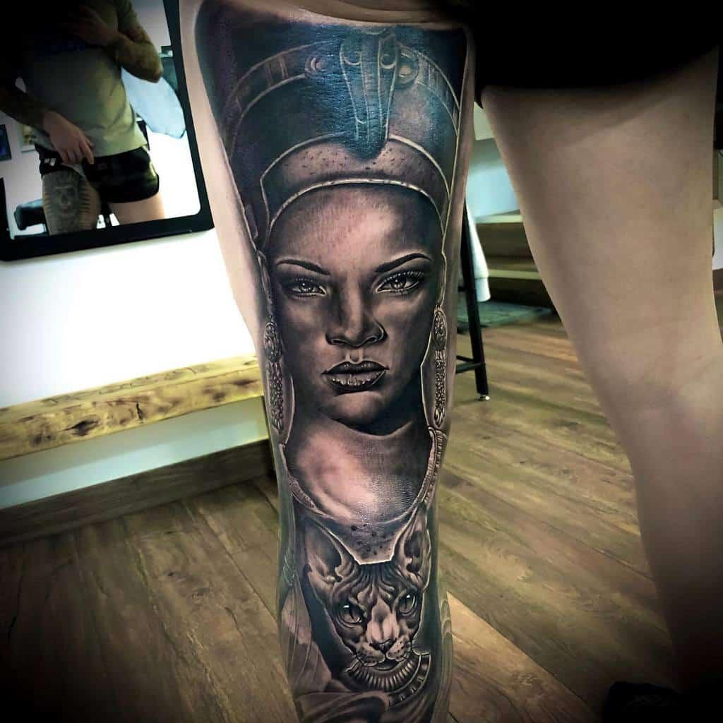 Thigh Nefertiti Tattoos Davidroquenebreda