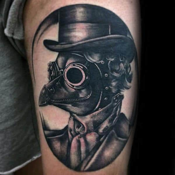 Thigh Plague Doctor Guys Tattoo Ideas