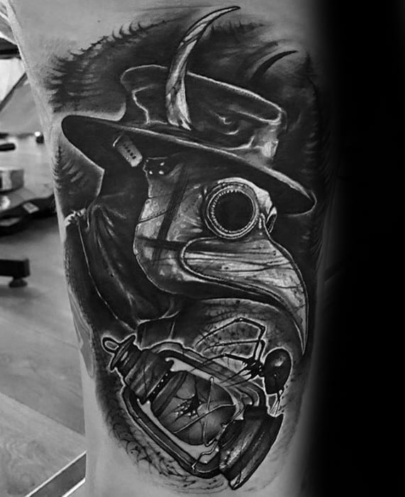 Thigh Plague Doctor Tattoo On Men