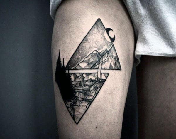 Thigh Pointillism Mens Nature Tattoos