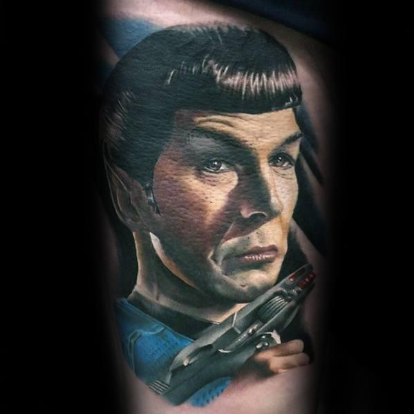 Thigh Portrait Incredible Star Trek Tattoos For Men