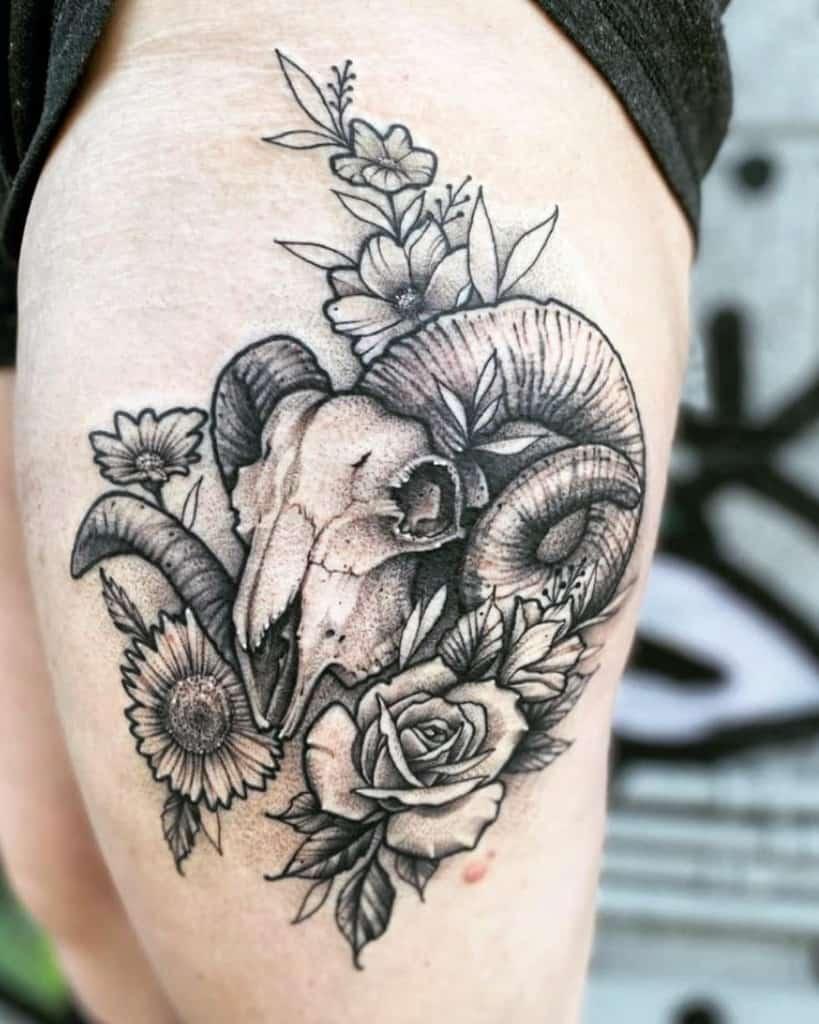 thigh ram skull tattoo delaneysunstarr