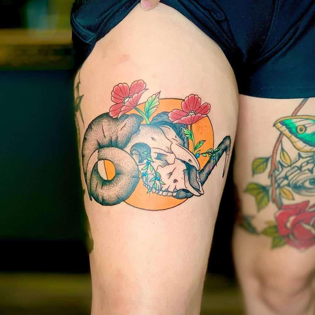 thigh ram skull tattoo icarustattoos