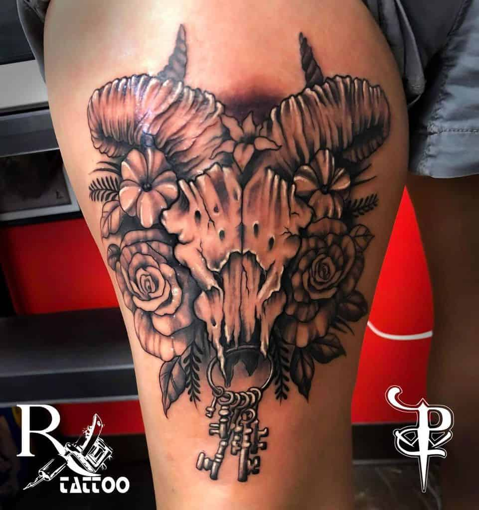 thigh ram skull tattoo paulwalloctattoo