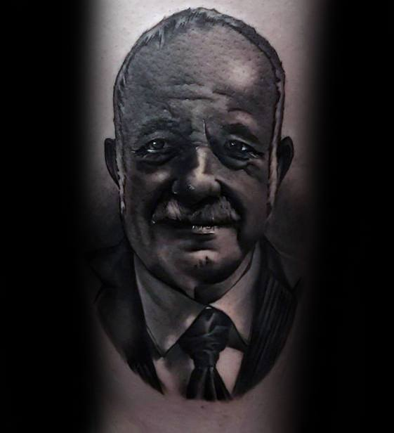 Thigh Realistic 3d Cool Portrait Tattoo Design Ideas For Male