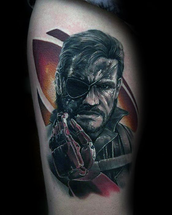 50 metal gear tattoo designs for men gaming ink ideas for Kratos tattoo design