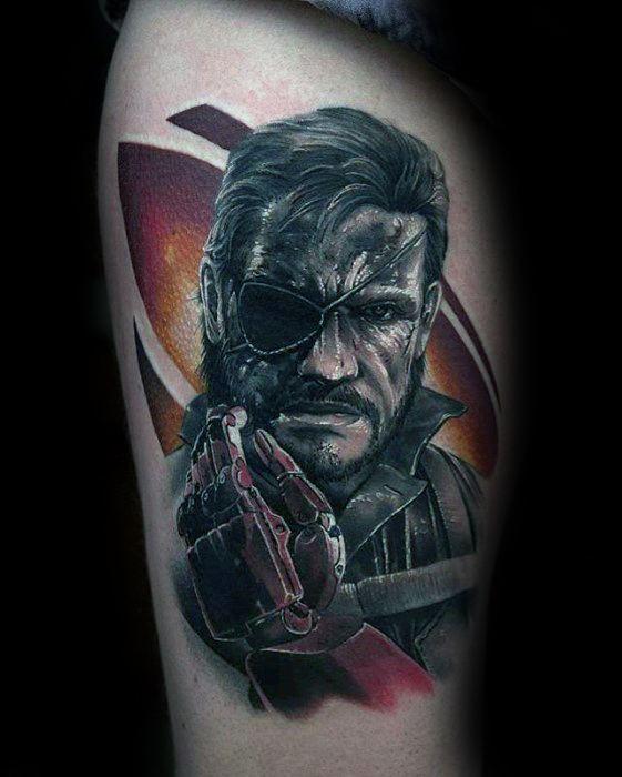 Thigh Realistic 3d Mens Metal Gear Tattoo Design Inspiration