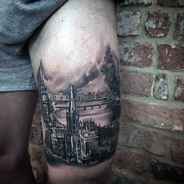 Thigh Realistic Clock Tower Big Ben Tattoos Guys
