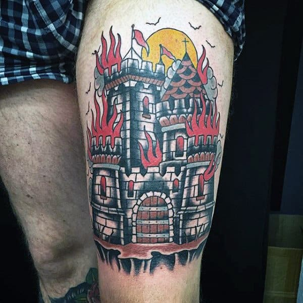 Thigh Red Flames Castle Tattoo For Men