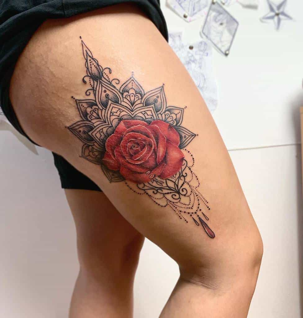 thigh red rose tattoos christian.tattootwo