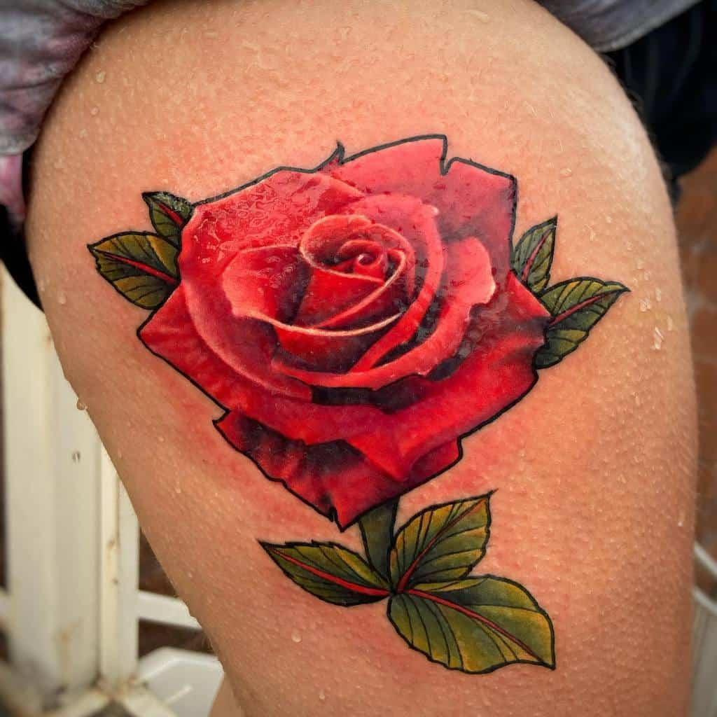 thigh red rose tattoos jakefinneytattoos