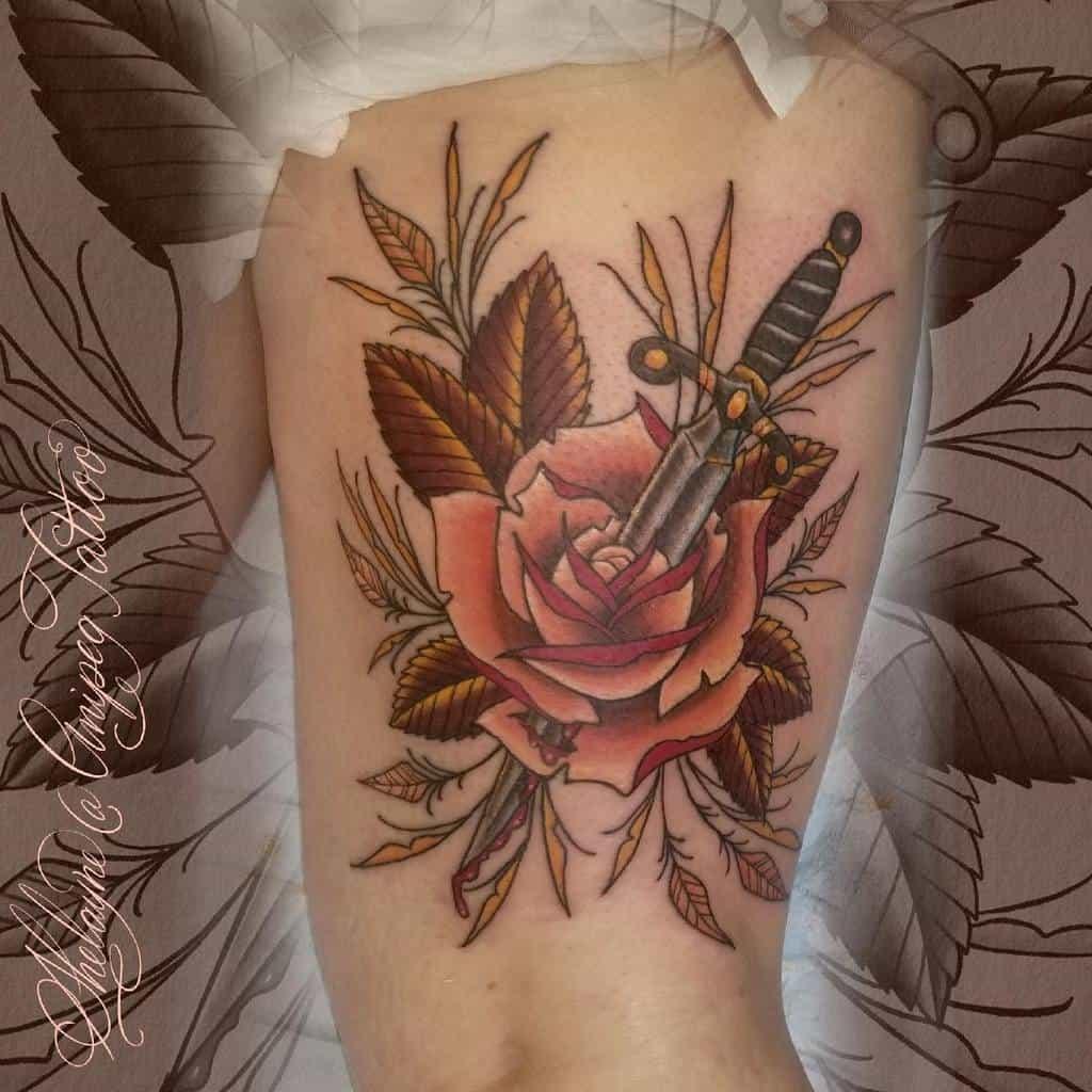 thigh rose and dagger tattoos shelayne.anipegtattoo