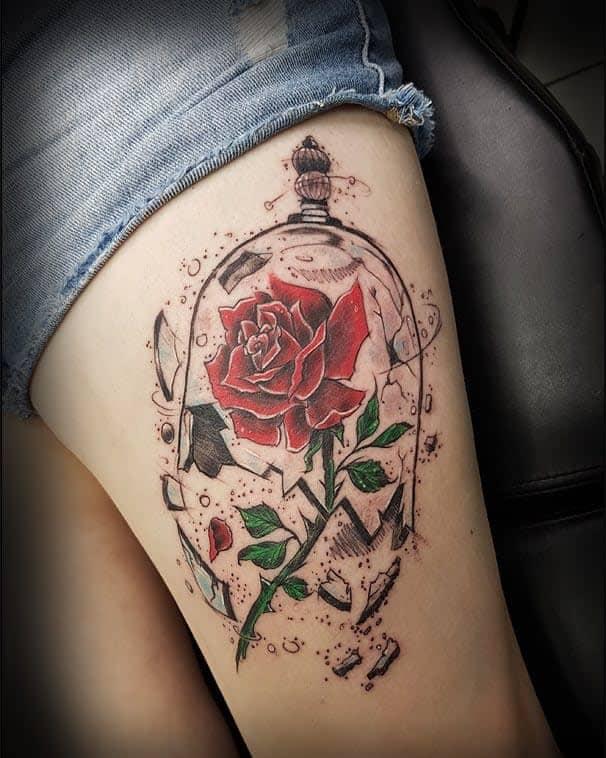 thigh rose with stem tattoos erik.tattooz