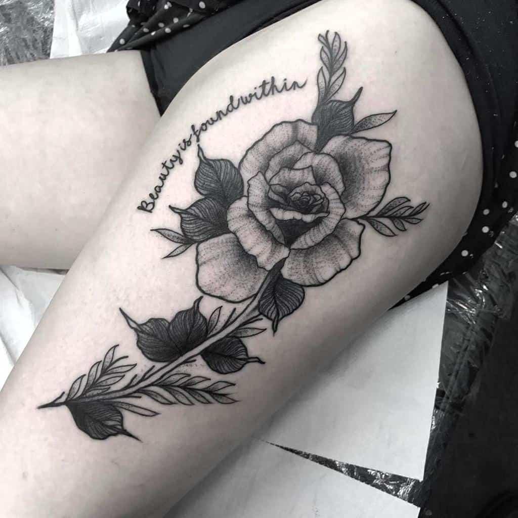 thigh rose with stem tattoos lauralenihantattoo