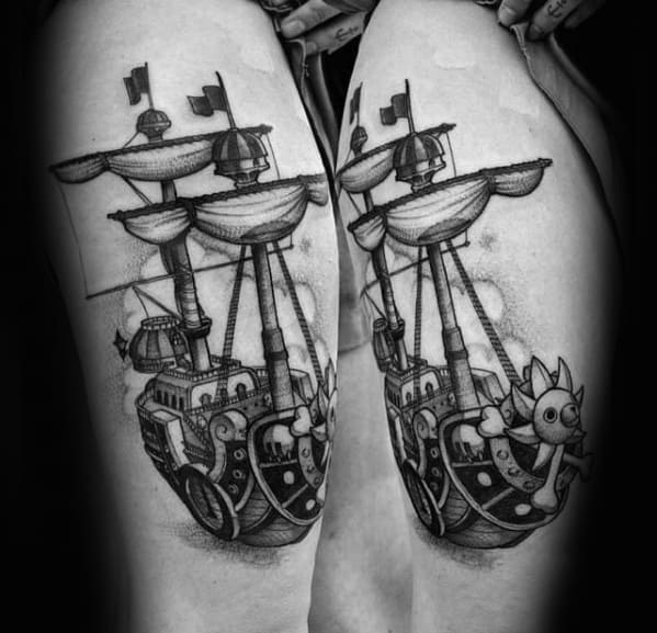 Thigh Sailing Ship Male One Piece Tattoos